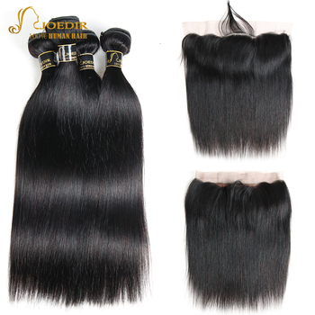 Lace Frontal Closure With Bundles With Baby Hair Brazilian Straight Human Hair Weave 3 4 Bundles With Frontal Joedir Non Remy image