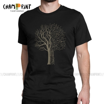Digital Tree T Shirt Men Funny T-Shirt Electronic Circuit Board Computer Chip Engineers Developer Geek Tee Shirt Party Clothes