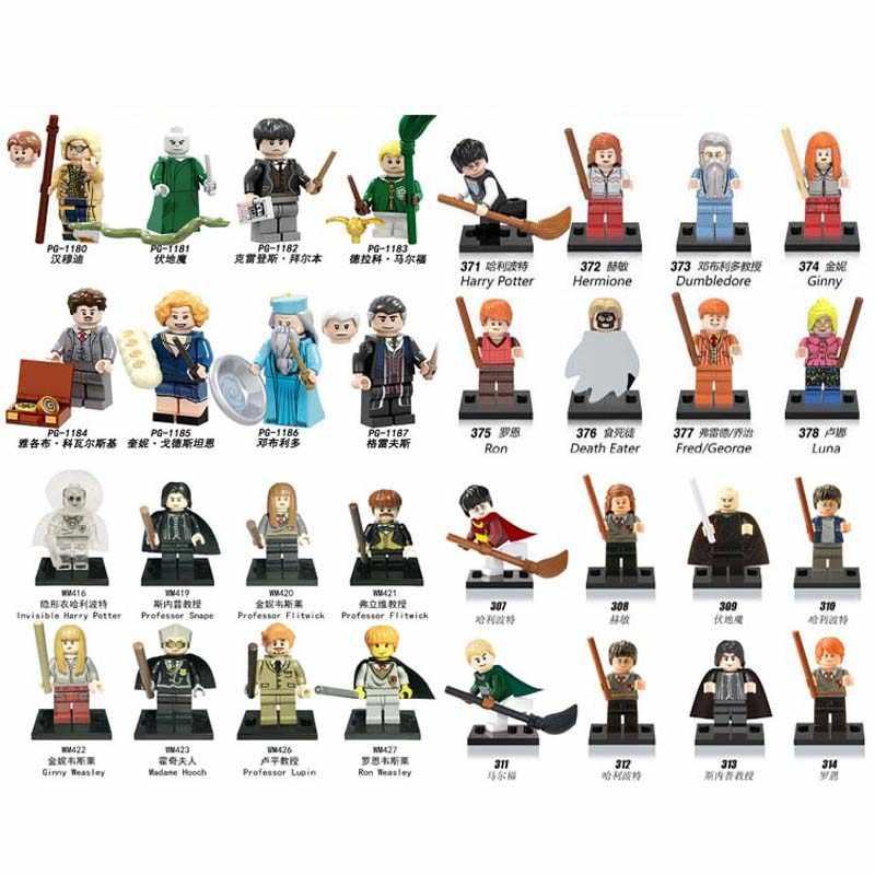 Figuras de la serie Harry magia de 1 Uds. Figuras de animales fantásticos Rubeus Dobby Hagrid Seamus Finnigan Hermione bloques de construcción de juguete