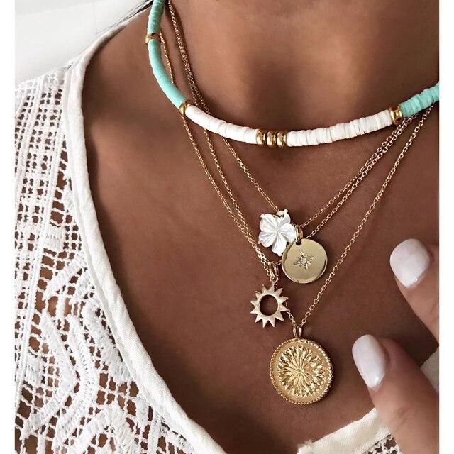 Gold color Choker Necklace for women Long moon Tassel Pendant Chain Necklaces & Pendants Laces velvet chokers Fashion Jewelry 3
