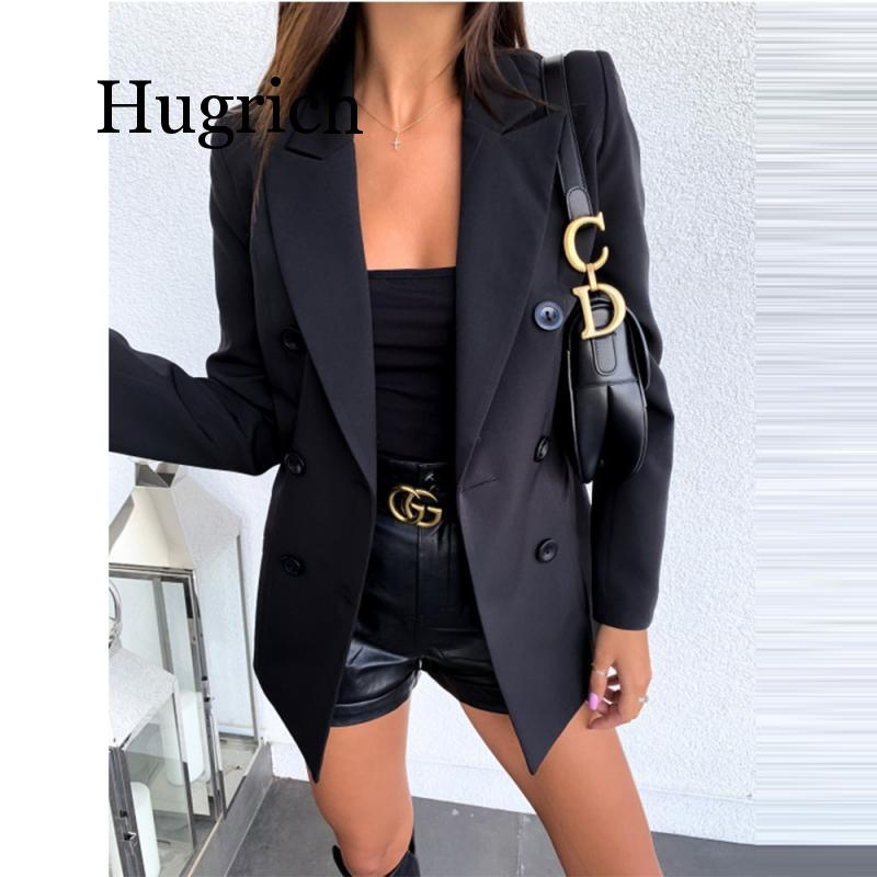Fashion Pure Color Long Sleeve Blazer Women 2020 Autumn Winter Casual Double-Breasted Buttons Office Work Suit Coat Blazer Tops