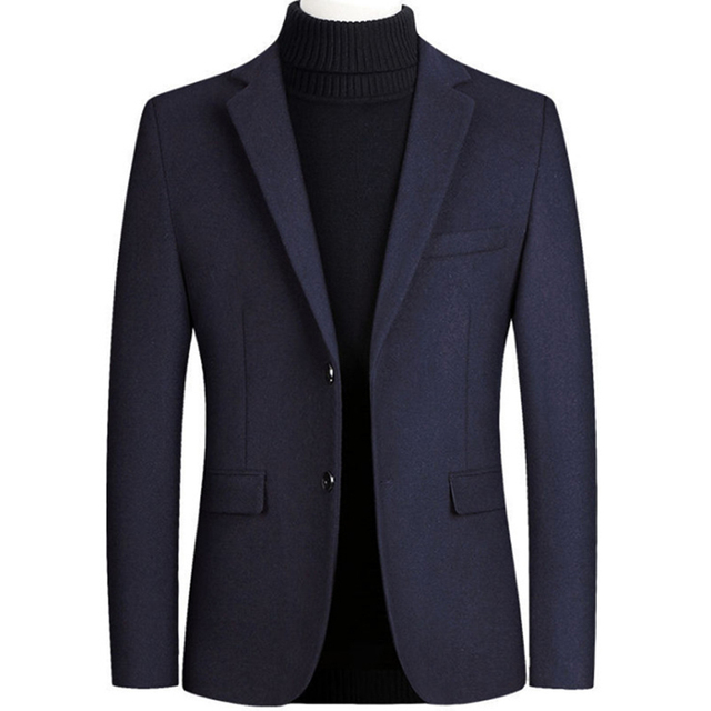 New Men Wool Blazer Casual Slim Fit