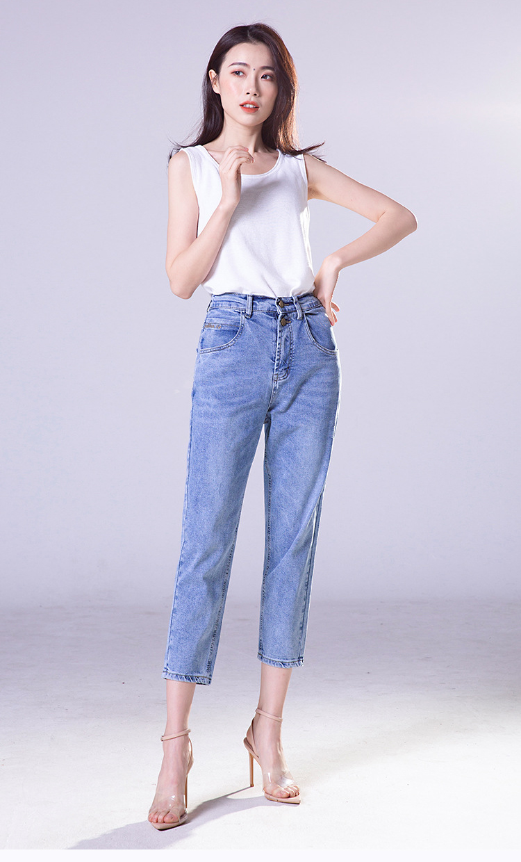 KSTUN FERZIGE high waist jeans women cotton mom jeans cropped Pants loose fit light blue double bottons boyfriend jeans for women 15
