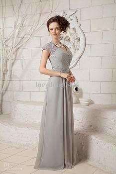 Custom Made evening gown vestido de noiva 2018 New Sexy Lace Beaded Short Sleeves Chiffon long Mother of The Bride Dresses short prom gown 2018 custom sexy women a line v neck beaded lace long sleeve vestidos de formatura mother of the bride dresses