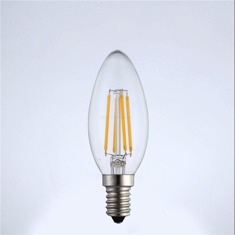 Новый дизайн энергосберегающая лампа 4 Вт 8Вт 12Вт E14 светодиодный лампы в форме свечи лампы 220V C35 C35L светодиодный нити Светильник лампы 360 гра...