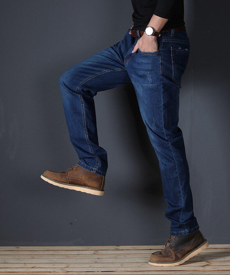 JS589J-2020 Summer Jeans Men's Straight Fit Large Mid Waist Men's Jeans Elastic Simple Business Pants