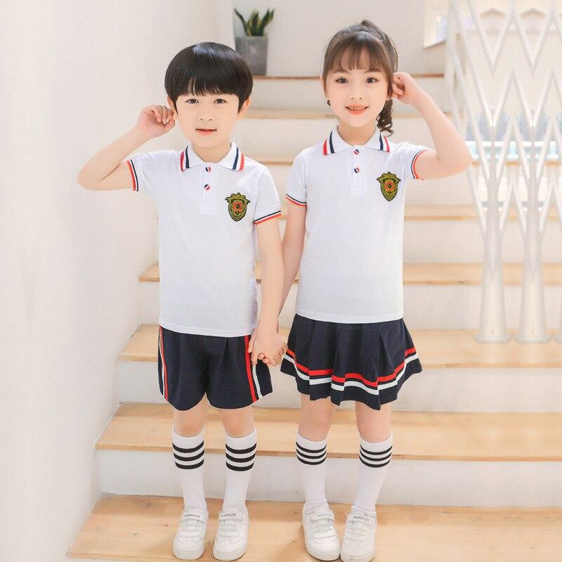 Children 2019 New Style Kindergarten School Uniform Primary School STUDENT'S Korean-style College Style Summer School Uniform La