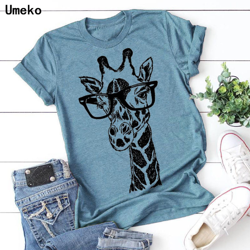 Umeko New Summer Giraffe Print T Shirts For Women Cartoon Casual T-shirt Lady Short Sleeve Tops Tees Shirt Female Clothes Femme