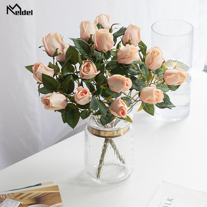 Meldel Wedding Bouquet 9 Heads Rose Flowers Artificial Silk Rose Flower Blue Pink DIY Party Prom Decoration Flower Arrangement