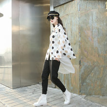Шифоновые блузки в горошек с длинным рукавом корейский стиль