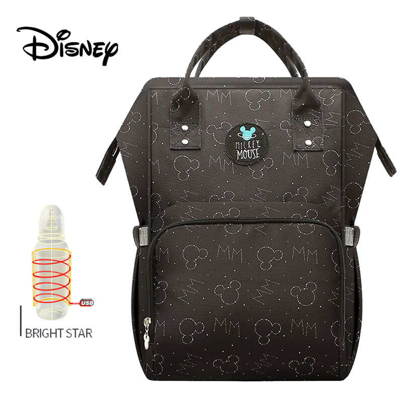 Disney Baby Diaper Bags USB Heating Waterproof Maternity Nappy Diaper Stroller Bag Insulation Large Capacity Mochila Backpack