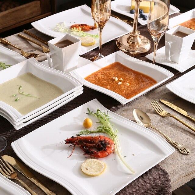 MALACASA FLORA 60-Piece White Porcelain Dinner Set with 12*Cup,Saucer,Dessert Soup Dinner Plate Dinnerware Set Service 12 Person 5