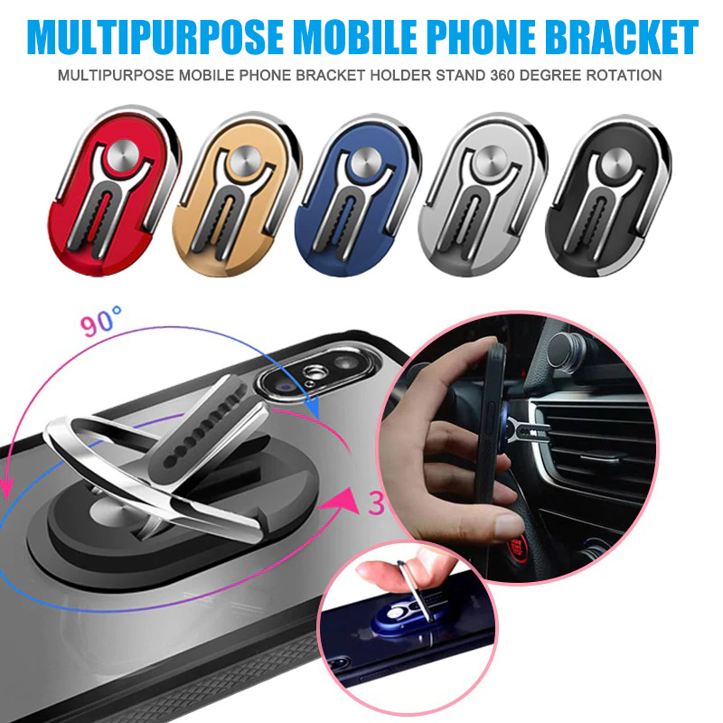 Multi-purpose Mobile Phone Bracket Holder Stand 2 In 1 360 Degree Rotation Phone Holders 90 Degree Fold Stand For Car Home