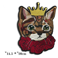 Cat Embroidered Kitten Crown Rose Patches for Clothing Accessories Sewing Patch Apparel Stickers Garment Badges embroidered rose patch tee dress