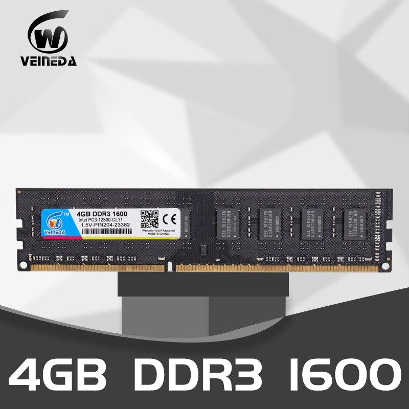 VEINEDA DDR3 4 GB 8 GB Memoria Ram DDR 3 1333 1600 tüm veya bazı AMD masaüstü PC3-12800 uyumlu 2 GB marka yeni