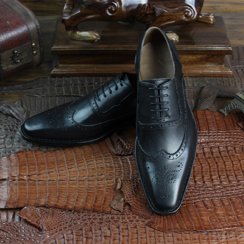 Heren Schoenen British Style Italy Brogue Shoes Baroque Carved Hand-made Shoes Business Formal Wear Shoes Mens Dress Shoes Solid