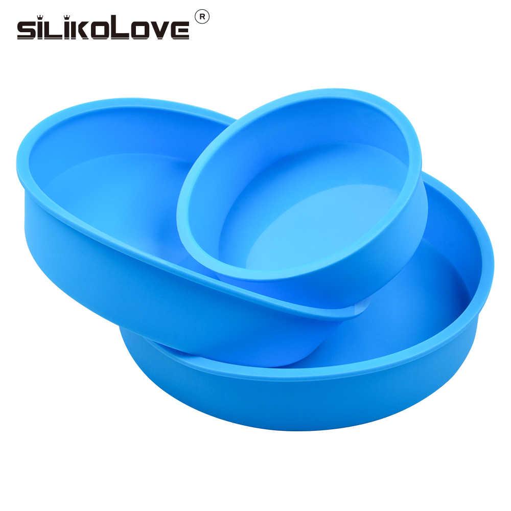 SILIKOLOVE גדול חדש סיליקון בישול אפיית מחבתות תבניות שאינו מקל עגול עוגת כלים מטבח DIY קינוחים