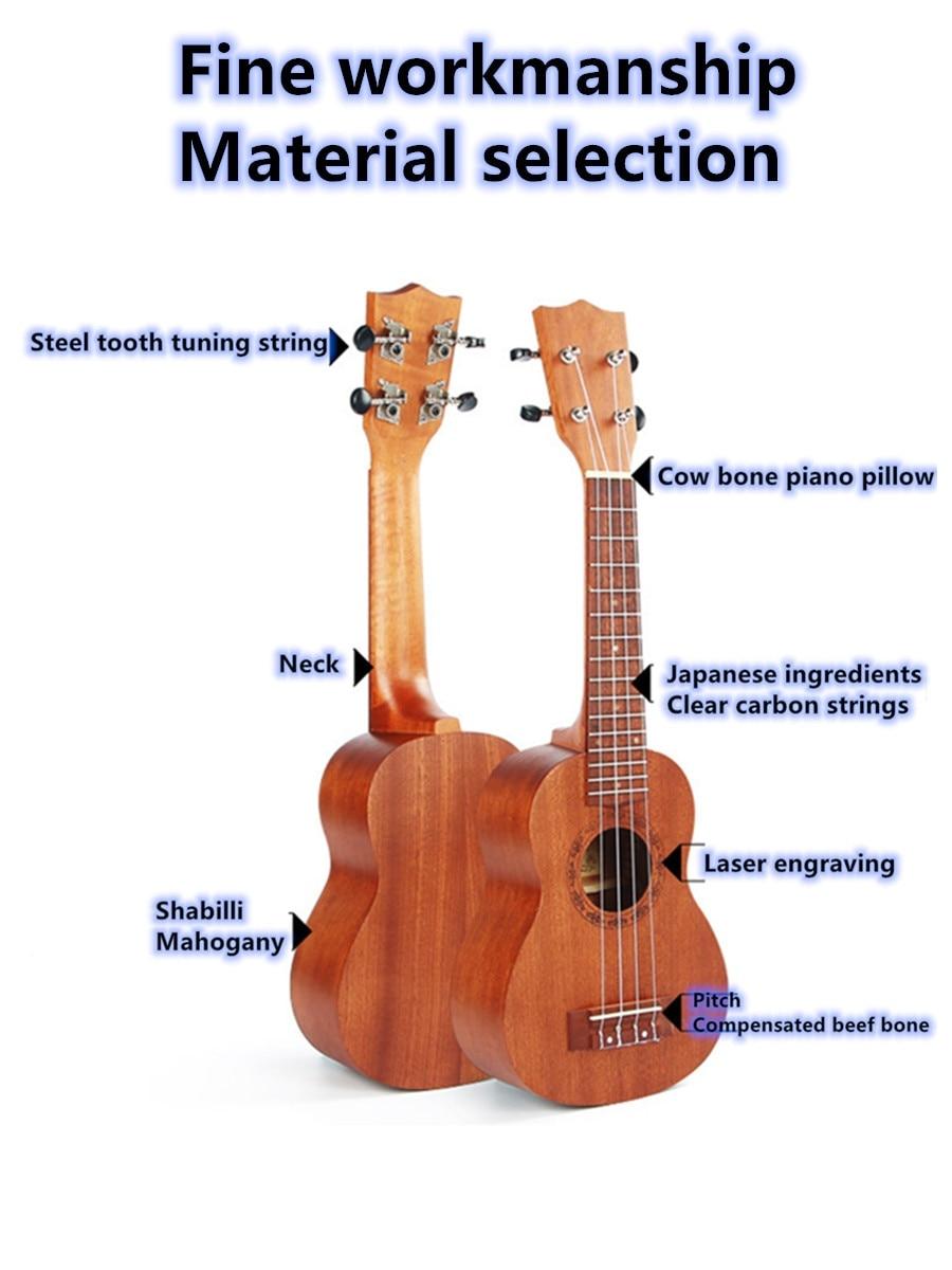 Ammoon-ukulele com 4 cordas, 24 polegadas, madeira
