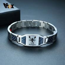 Vnox-pulsera de fibra de carbono azul para hombre, brazalete con logotipo de información, grabado personalizado gratis