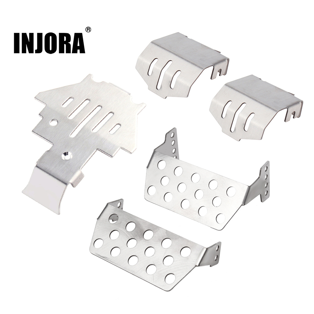 INJORA TRX4 Stainless Steel Chassis Armor Axle Protector Skid Plate For 1/10 RC Crawler TRAXXAS TRX-4