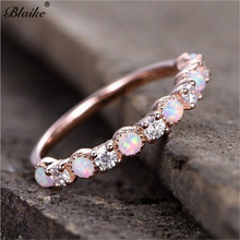 Blaike Rose Gold Filled Rings For Women Exquisite White Fire Opal And Zircon Ring Bride Wedding Engagement Ring Jewelry Gifts rainbow fire mystic crystal zircon ring white black innocuous ceramic rings plus cz for women wedding ring engagement jewelry