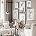Рисунок по линии, абстрактная живопись, черный, белый Одуванчик, скандинавский плакат, Минималистичная Художественная печать, скандинавски...