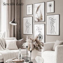 Line Drawing Abstract Painting Black White Dandelion Nordic Poster Minimalist Art Print Scandinavian Home Decoration Picture