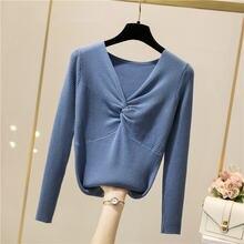 Осень/Зима 2020 толстый свитер женский вязаный с v образным