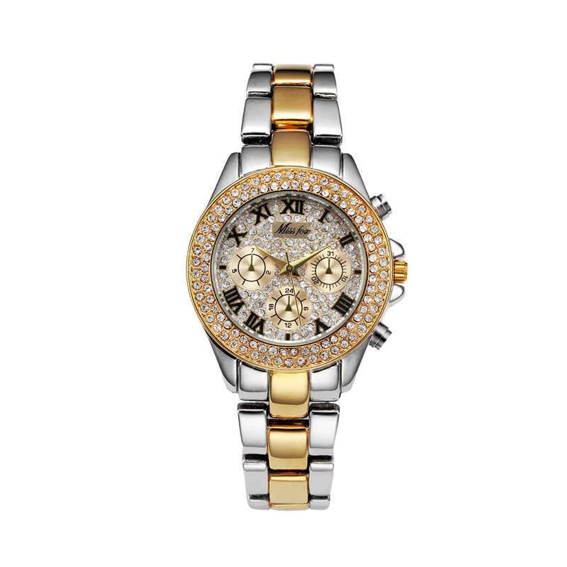 נשים משרד שעונים CZ אבן 18K זהב תאריך קוורץ שעוני יד גברים היפ הופ יוקרה מותג איש CZ שעון עמיד למים תכשיטי שעון