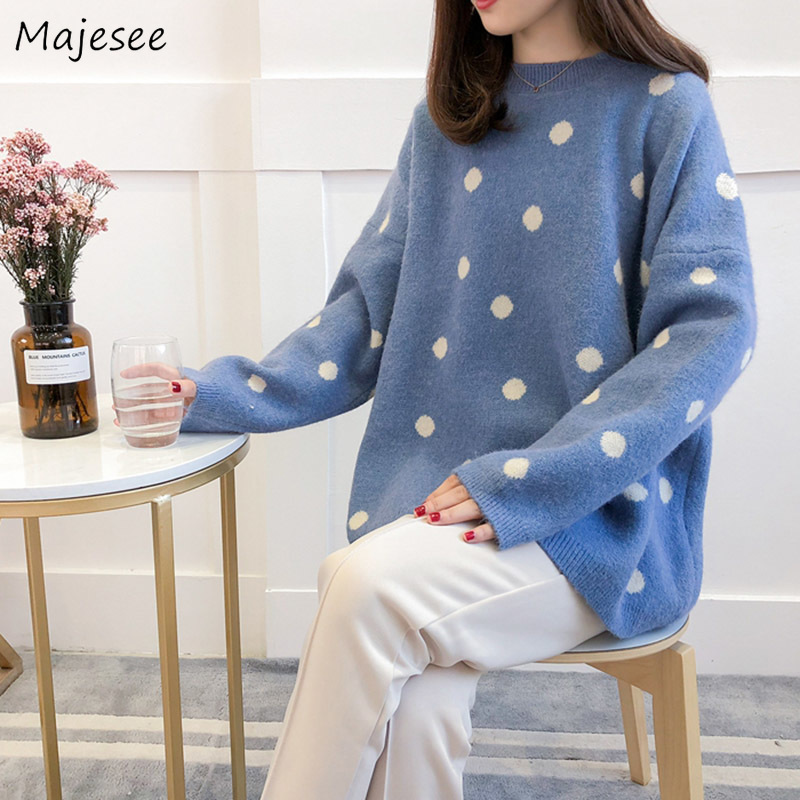 Pullovers Women Plus Size 3XL Cute Dots O-Neck Simple Knitted Sweaters Womens Winter Warm All-match Loose Harajuku Korean Style