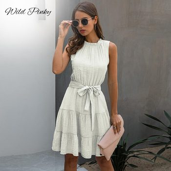 WildPinky Women Casual A-Line Short Mini Dress Female 2020 Summer Solid Draped Sashes Sleeveless Elegant Party Dress Vestidos