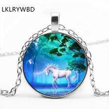 LKLRYWBD / New Retro Pegasus Unicorn Glass Pendant Necklace Jewelry