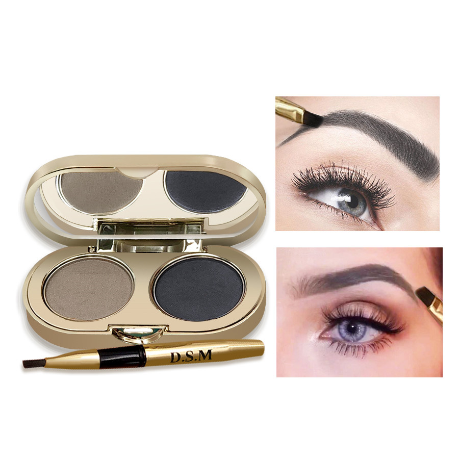 D.S.M Professional Eyebrow Powder 2 Colors Waterproof Eyebrow Non-smudge Eye Brow Makeup Eyeshadow Palette Cosmetics Makeup Kit 3