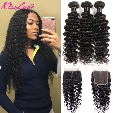 Kiss Love Brazilian Hair Deep Wave Bundles with Closure Human Hair Weave 3 Bundles with Lace Closure Middle Ratio Remy Hair