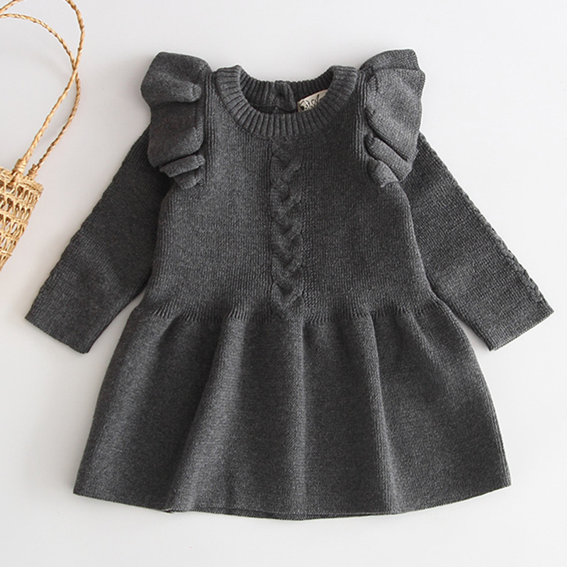 Winter Knitted Dress Autumn Toddler Girl Dresses For Female Babies Infant Warm Dress Knitted Sweater Kids Dresses For Girls 4