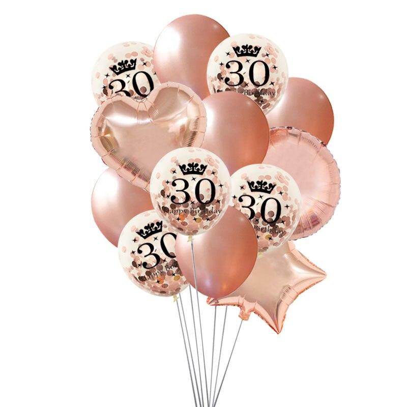 Balões de coroa de ouro rosado 30 40 50 anos, balões de aniversário 30th 40th 50th, decoração de festa de aniversário, coração, estrela e feliz aniversário