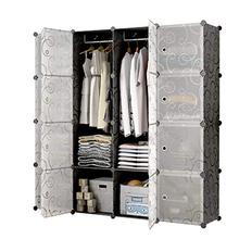 Wardrobe Plastic Portable Cupboard Shelving System Foldable DIY Wardrobe with Doors