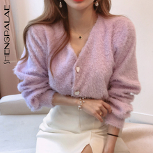 Cardigan Coat Knitted Sweater Heart-Shaped-Buttons Plush Korean Women Spring V-Neck Warm