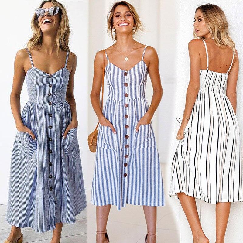 Women's Casual Retro Sleeveless Summer Dress Bohemia Sexy Dress Midi Button Open Back Polka Dot Stripe Flower Beach Dress Women