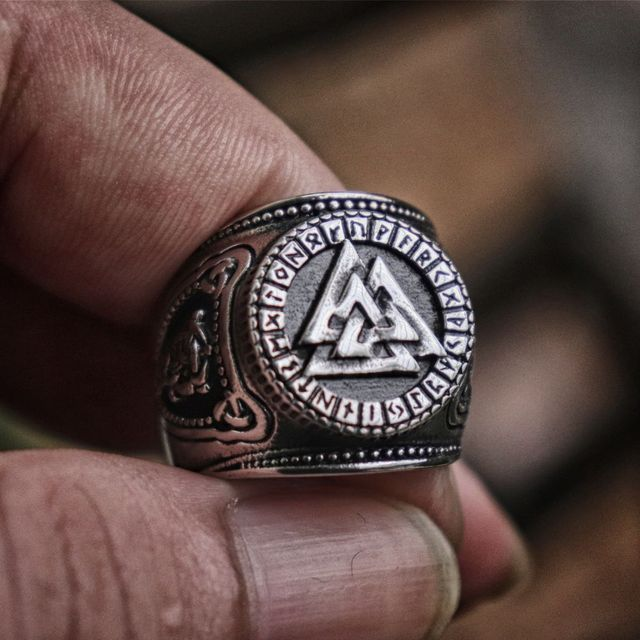 Mens Viking Odin Stainless Steel Rings Valknut Futhark Runes Compass Magic Stave Adjustable Size Ring Nordic Amulet Jewelry