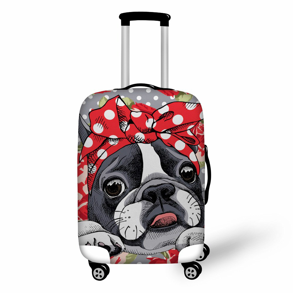 KOKO CAT Luggage Cover Boston Terrier Pattern Cover For Suitcase Women Men Travel Accessories Suit Thick 18-30 Inch Luggage
