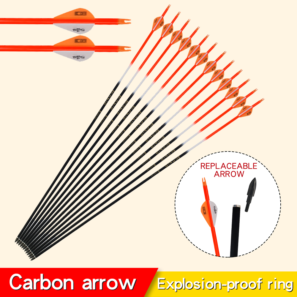 6/12/24pcs Archery Accessories 32inch 7.6mm Carbon Arrows Spine 500/600 For Bow And Arrows For Adults Outdoor Hunting Shooting