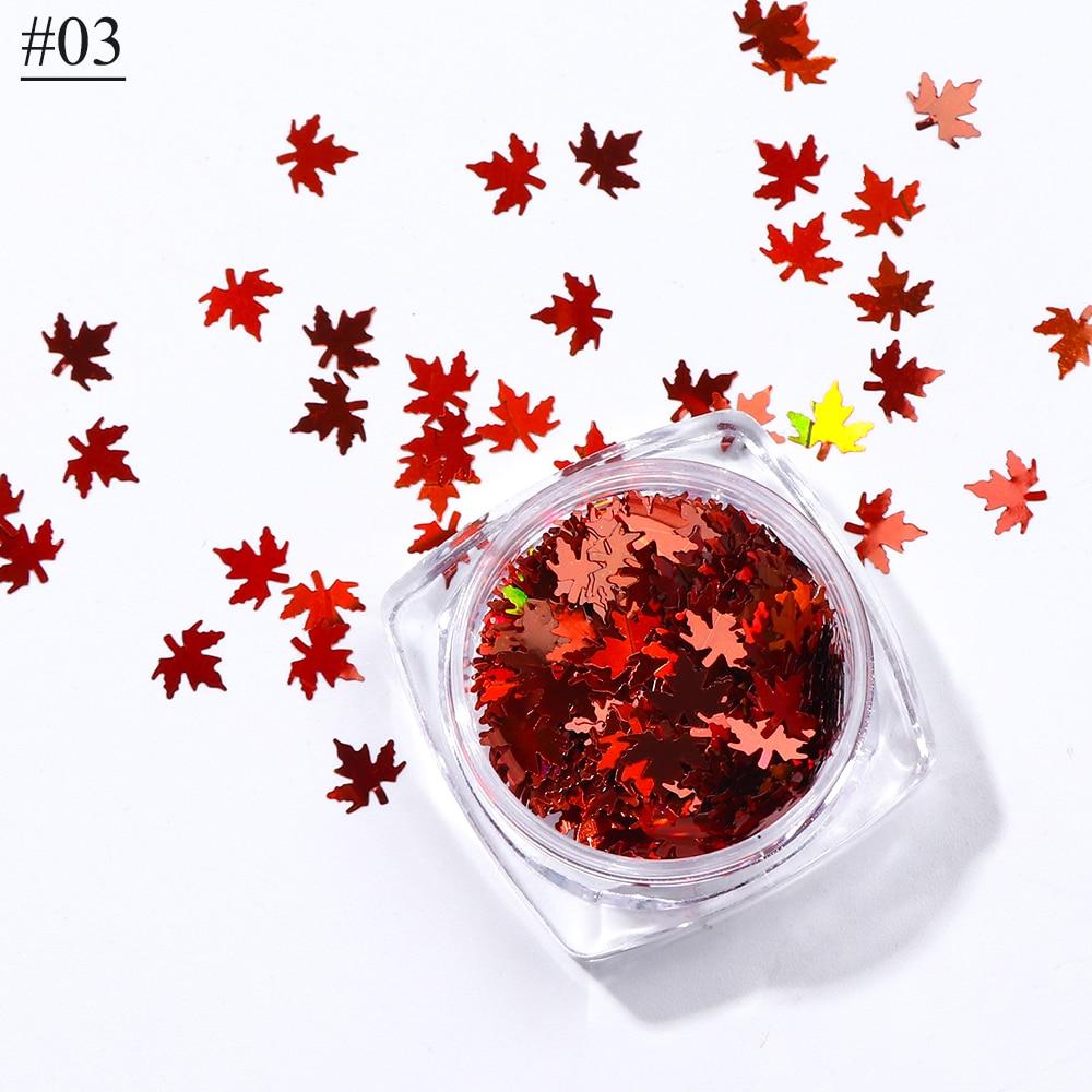 """1 коробка кленовые листья дизайн ногтей голографические блестки наклейки """"хамелеон"""" для ногтей осенний дизайн Декор SA1528 - Цвет: 03"""