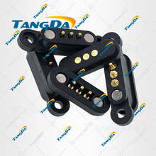 TANGDA 3P Thông Qua Lỗ Hàn Nam Nữ Đầu Đo Liên Lạc Với Lò Xo Từ Pogo Pin 3 Chân Cắm 2.3 Mm đứng Hàng Đơn
