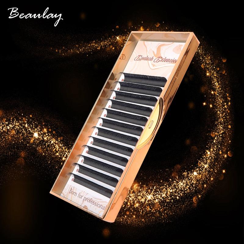 100% Handmade Russian Volume Eyelashes Extensions Beauty Natural Korea Silk Mink Individual Eye Lahe Soft  Eyelash 12Lines /Tray