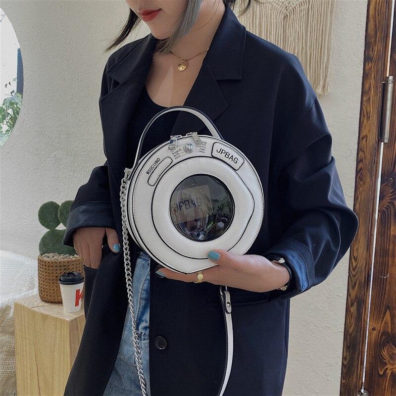 Washing Machine Shape Women Shoulder Bag Round Bag Female Handbag Small Crossbody Bags For Women2020 PU Leather Handbag