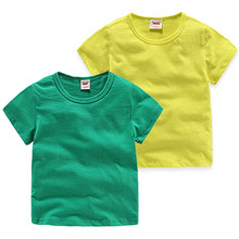 Kids T-shirt Tops Baby Boy Cotton Short Sleeve Summer Girls Children Cartoon Basic Color Clothes Boys Girls O-neck Tees Green цена и фото
