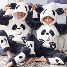 Unisex Adult Couple Pajamas Women Winter Velvet Sleepwear Thickening Warm Flannel Pyjamas Set Animal Cartoon Cute Home Service
