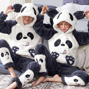 Unisex erwachsene paar pyjamas frauen winter samt nachtwäsche verdickung warme flanell pyjamas set tier cartoon nette hause service