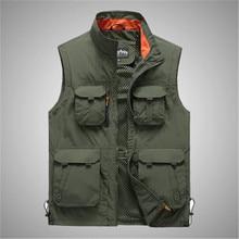 Vest Men Waistcoat Sleeveless Jacket Zipper Multi-Pockets Army-Green Male Outdoor Casual
